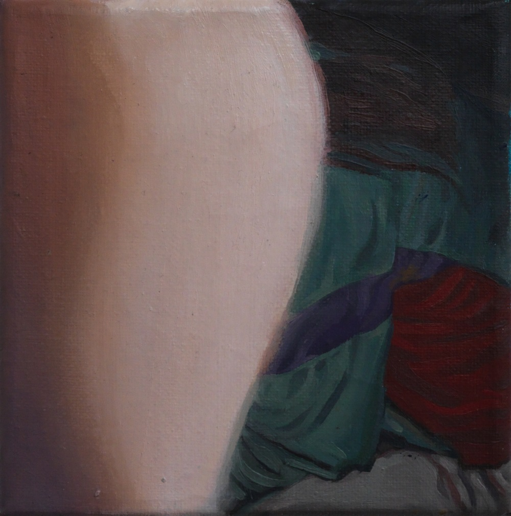 Hidden Luisa, huile sur toile, 15x15 cm, 2018, © GALERIE CHLOE SALGADO et Julian Simon