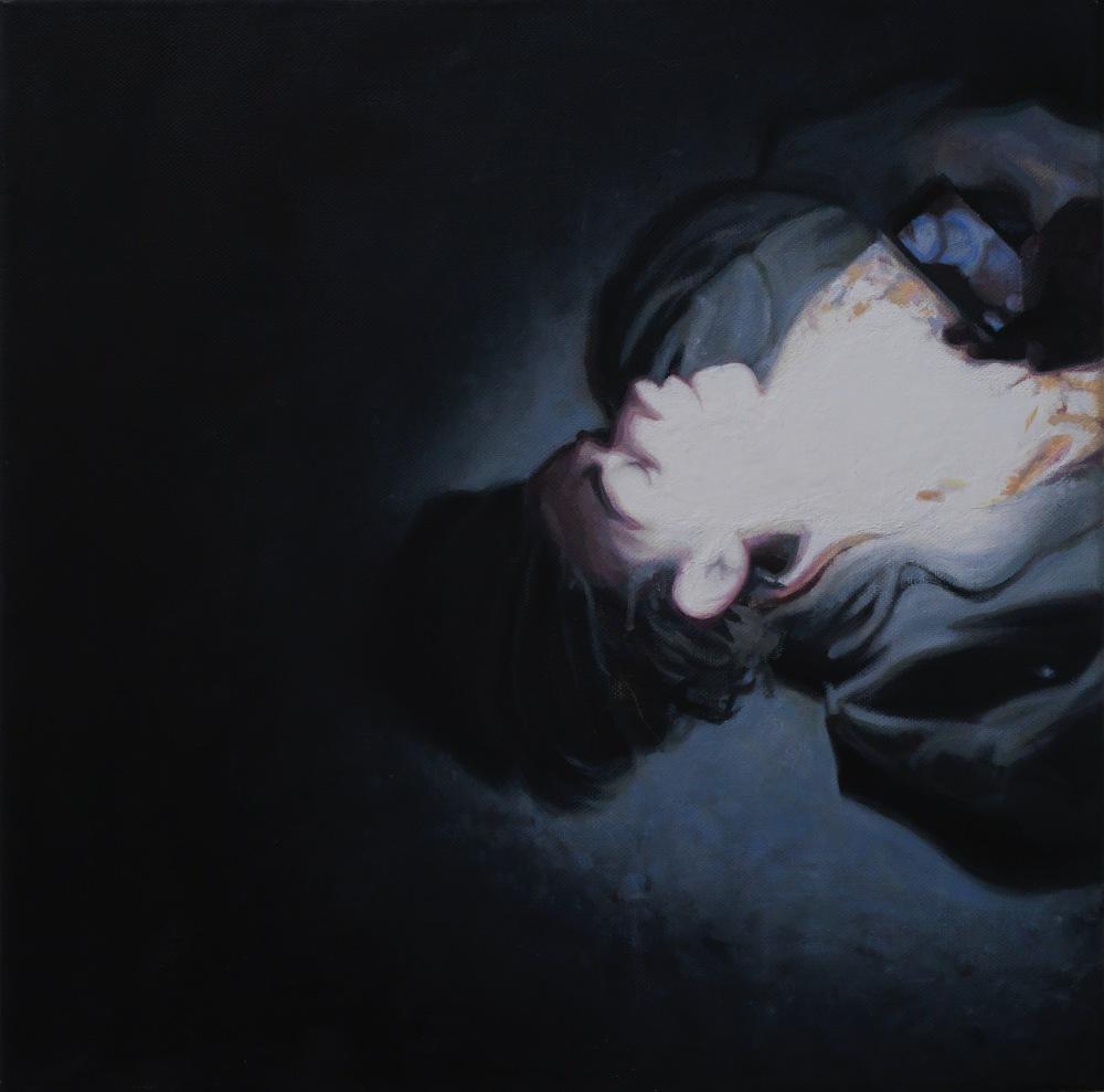 Jean, huile sur toile, 40x40 cm, 2018 © GALERIE CHLOE SALGADO et Julian Simon